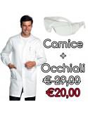 Camice ANTIACIDO Unisex + Occhiali Protettivi CE